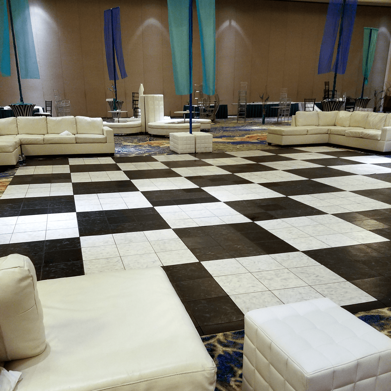 Black and White Luxury Marble checkered dance floor with edging