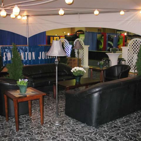 Basic Black Marble floor display at a trade show