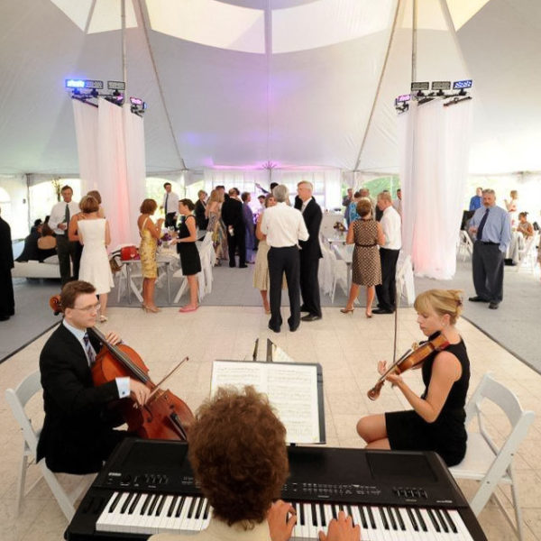 Luxury White Marble Dance Floor at an event with chamber music
