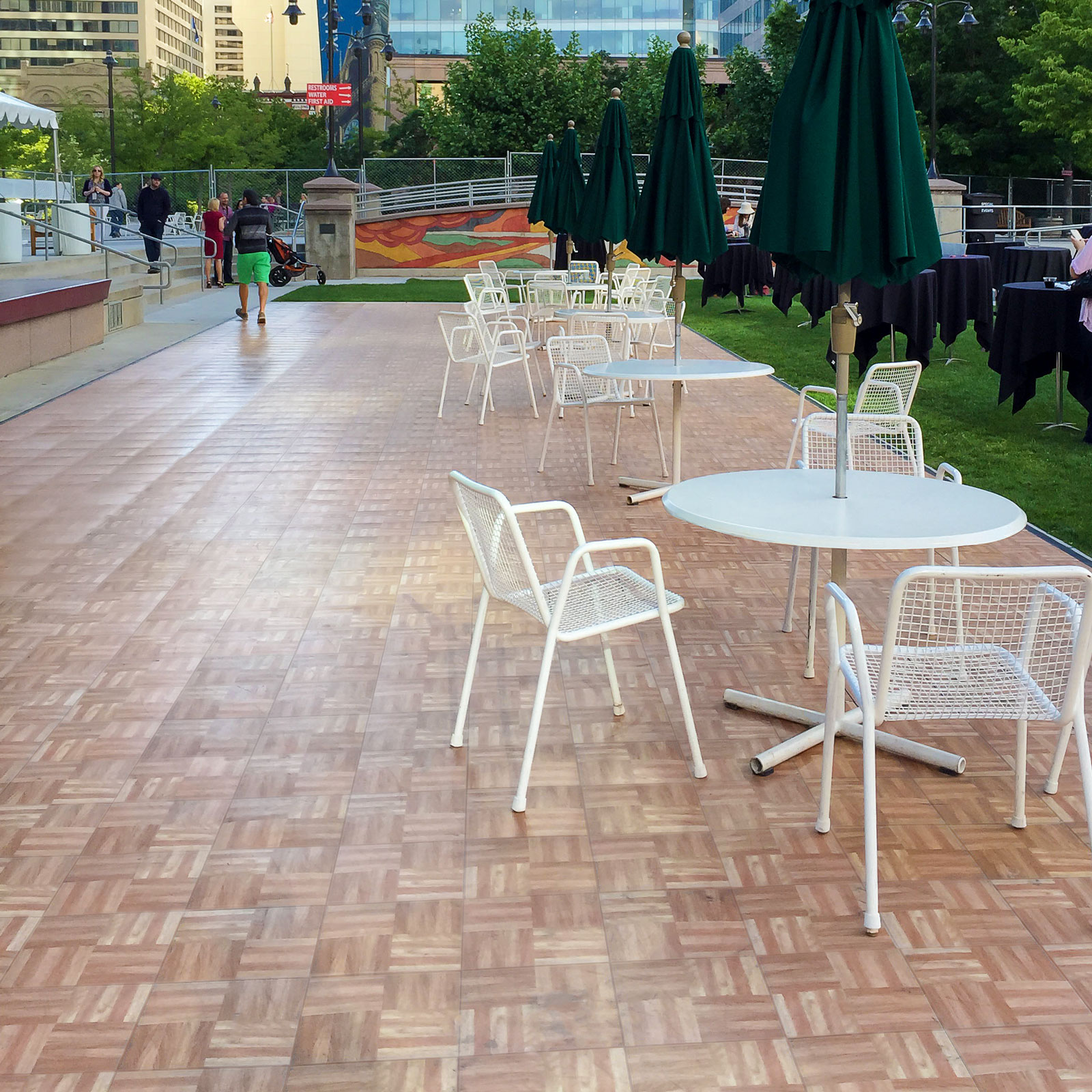 Oak floor set up at the Gallivan Center